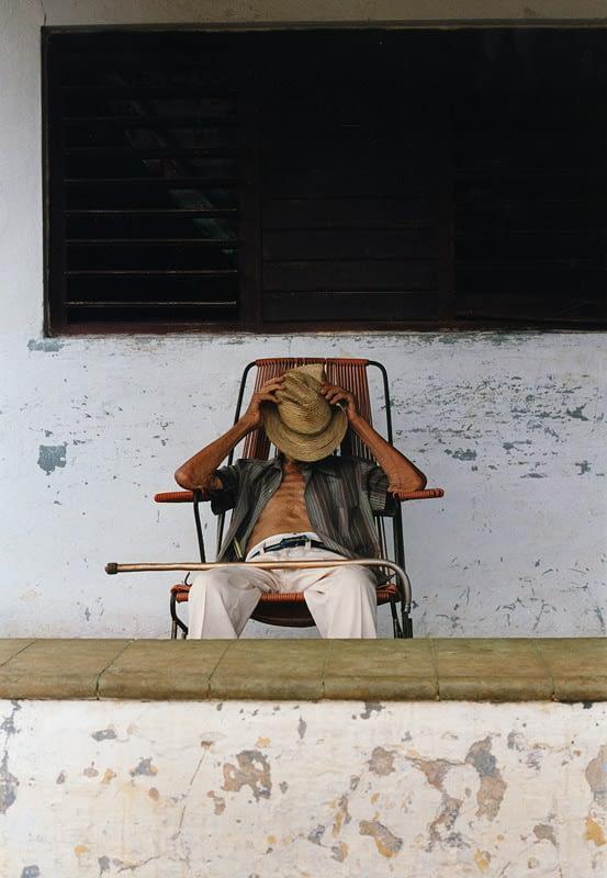 Old Man, Cuba, travel photograph, hat, cane