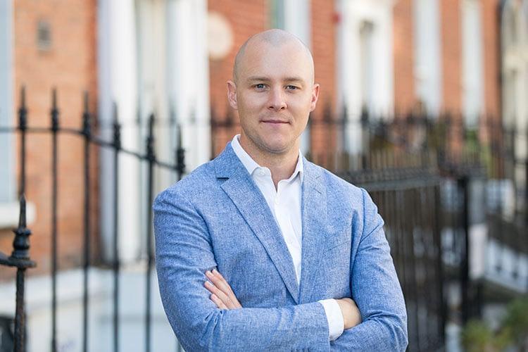 business headshot portrait, man, suit, Georgian offices Dublin