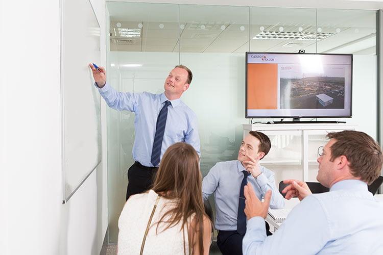 Meeting, man, white board, stock