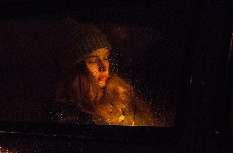 Actor portraits, car, rain, window, girl, sad