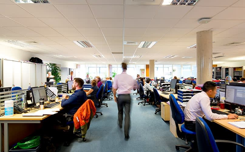 Brochure photography, man, office, blurred, people, working