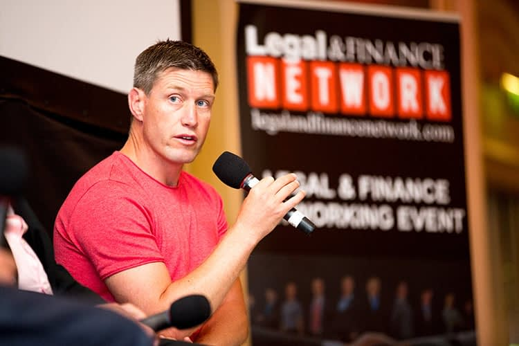 Event photography, stage, ronan o'gara, rugby, conference, dublin
