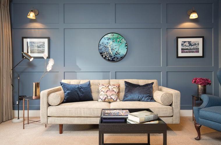 House photographer dublin, living room, couch, blue wall