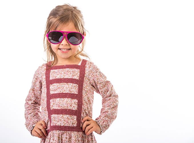 Advertising photography, Dublin, Cothes campaign, studio, girl, kid, sunglasses, white backdrop
