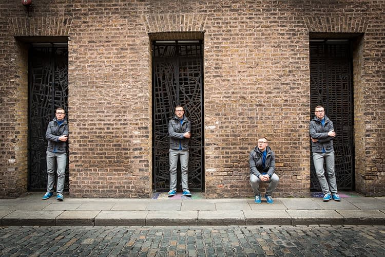 Duplicate, same person, repeat, multiple times, Dublin, Temple Bar, wall, Portrait, alternative