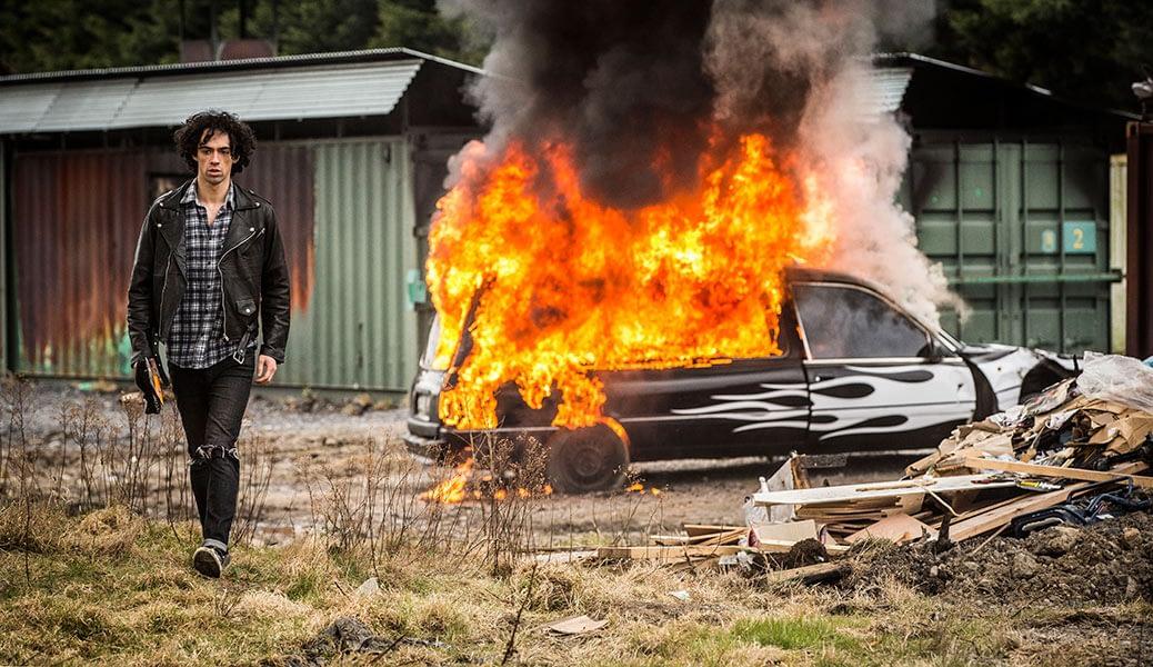 irish, movie stills, film still, actor, burning car, drummer and the keeper
