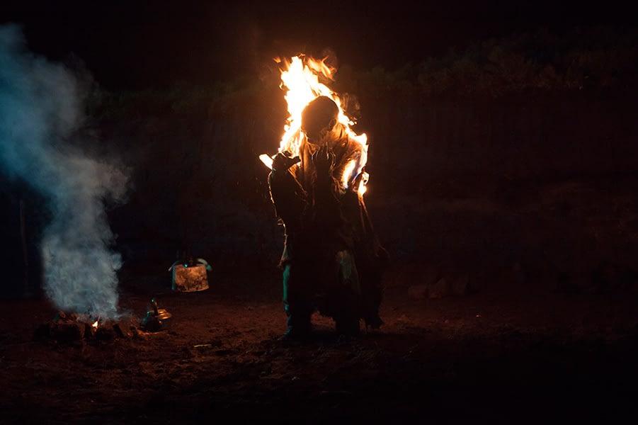 Monster, movie, still, burning, fire, night, bog, still