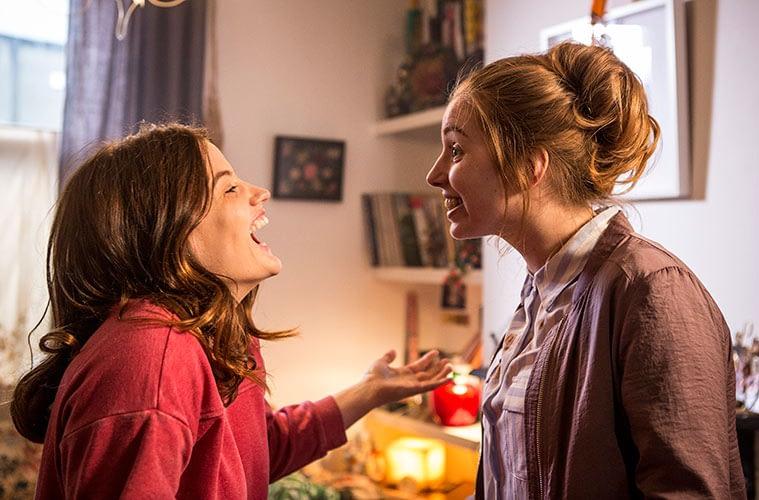 2 girls dancing, laughing, unit still, comedy drama, irish, film still